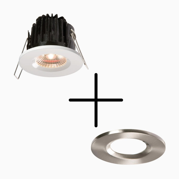Fire Rated 7 W Dimmable LED Downlight + Chrome Bezel IP65 - ID 10023
