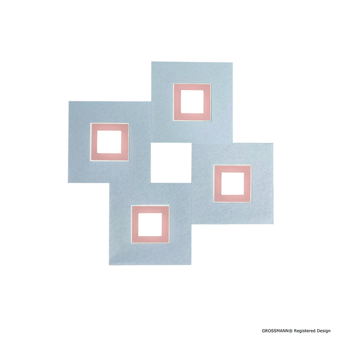 Grossmann KARREE Aluminium Four Lamp Square Wall / Ceiling Light - Colour Frame Options