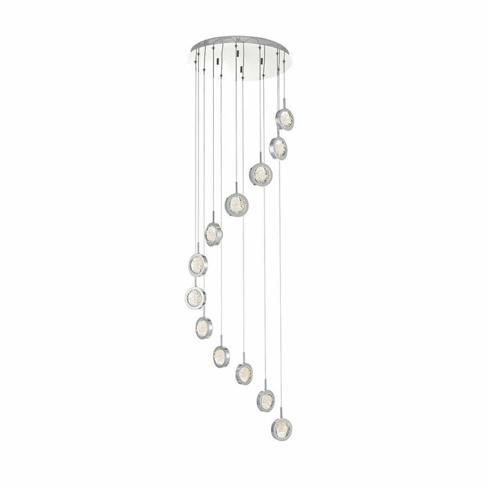 Hillingdon Polished Chrome and Glass Large Cluster Pendant - ID 8091