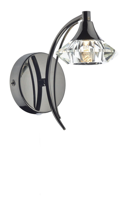 Dar Luther Black Chrome Single Arm Wall Light - London Lighting - 1