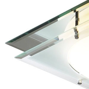 Mantra Frosted Glass Mirrored Flush Light - London Lighting - 2