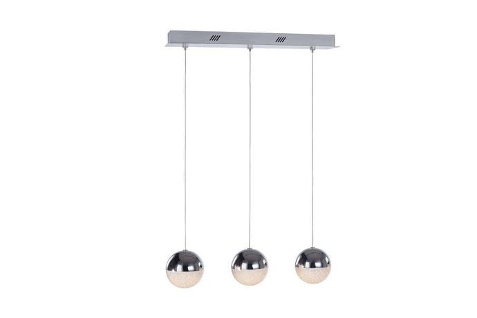 Eclipse 3 Light Chrome Bar Pendant - London Lighting