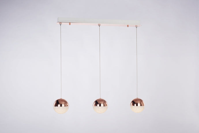 Eclipse 3 Light Copper Bar Pendant - London Lighting