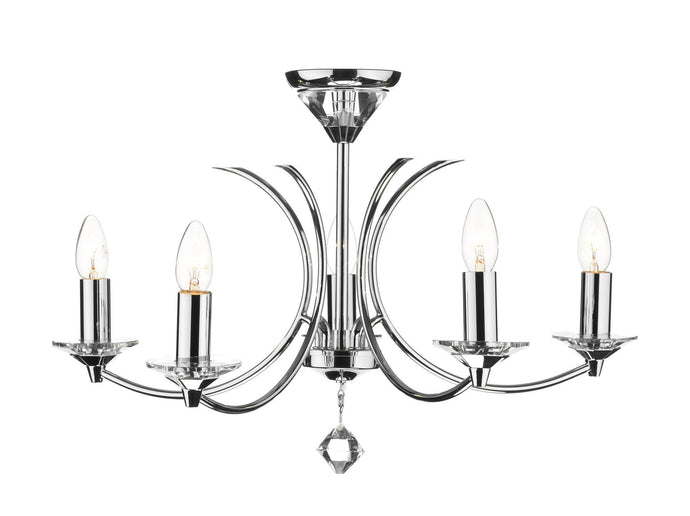 Medusa Chrome 5 Arm Chandelier - London Lighting - 1