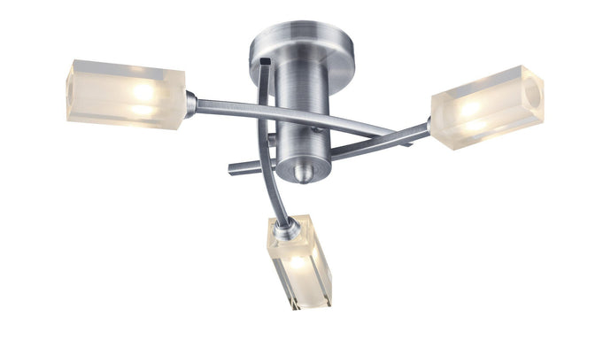 Morgan Satin Chrome 3 Lamp Semi-Flush - London Lighting - 1
