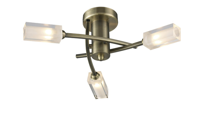 Morgan Antique Brass 3 Lamp Semi- Flush - London Lighting - 1