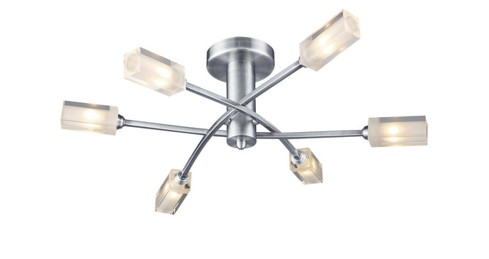 Morgan Satin Chrome 6 Lamp Semi-Flush - London Lighting - 1