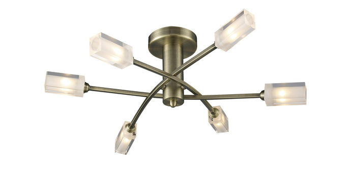 Morgan Antique Brass 6 Lamp Semi-Flush - London Lighting - 1