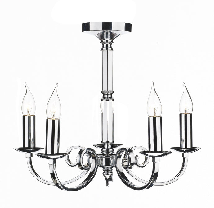 Murray Chrome 5 Lamp Chandelier - London Lighting - 1