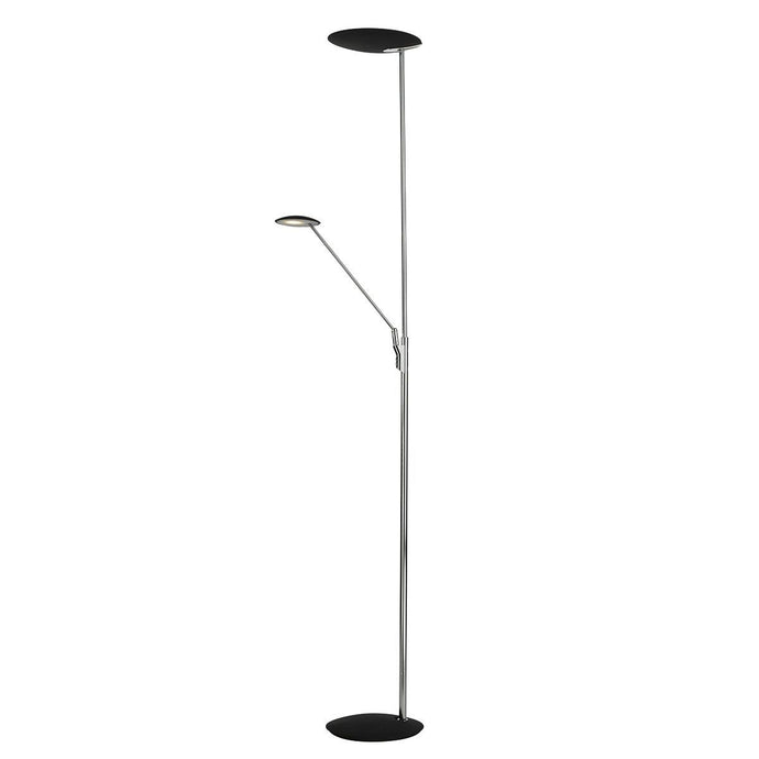 Black & Chrome LED Floorstand with Adjustable Head and Arm - ID 5793