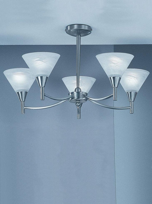 Keiss 5 Light Ceiling Light In satin nickel finish with alabaster effect glasses - ID 1881