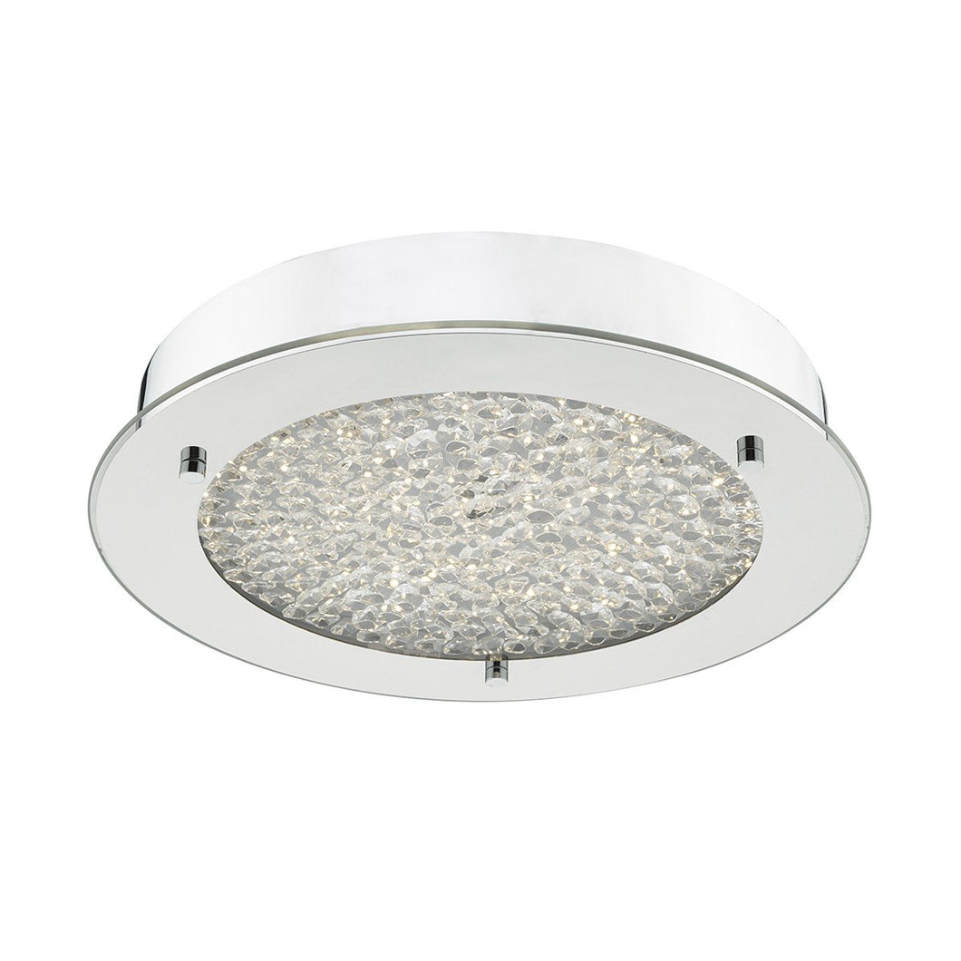 Heath Polished Chrome and Crystal Flush Bathroom Light - ID 6856