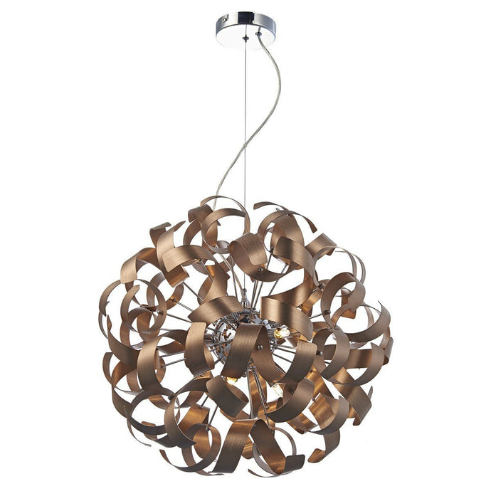 Rawley Satin Copper 9 Lights Ribbon Pendant Light - London Lighting - 1