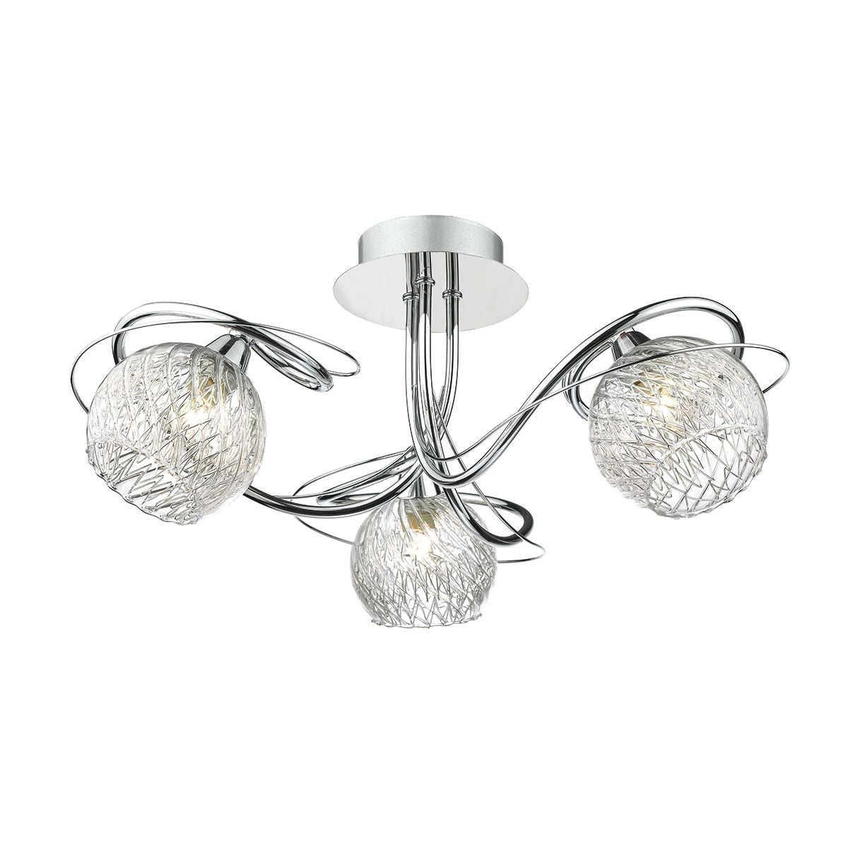 3 Light Semi Flush Ceiling Light With Decorative Wire Effect Glass - ID 8454