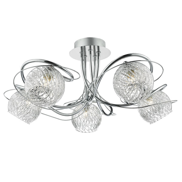 5 Light Semi Flush Ceiling Light With Decorative Wire Effect Glass - ID 8453