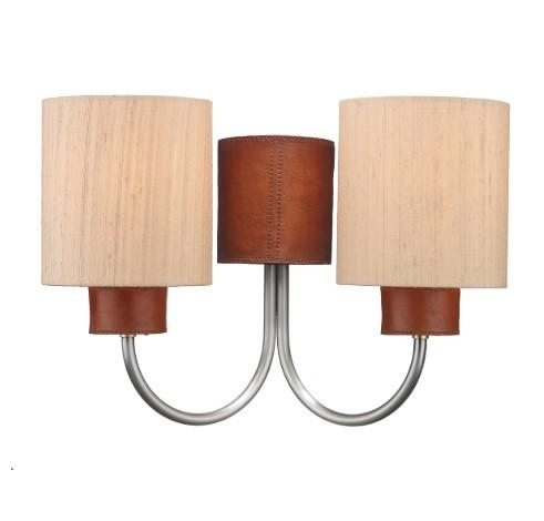 Saddler Brushed Silver & Tan Double Wall Light With Taupe Silk Shades - ID 4475