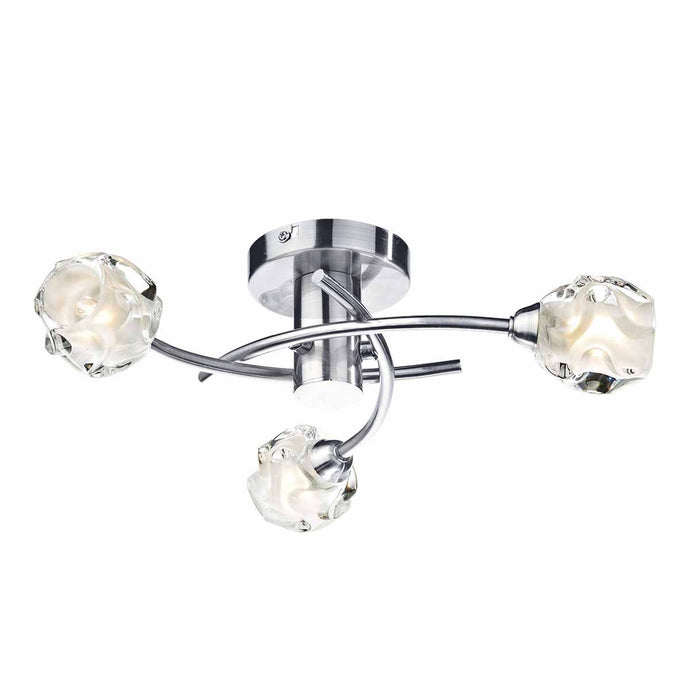 Abbey Wood Satin Chrome 3 Arm Ceiling Light - ID 6814