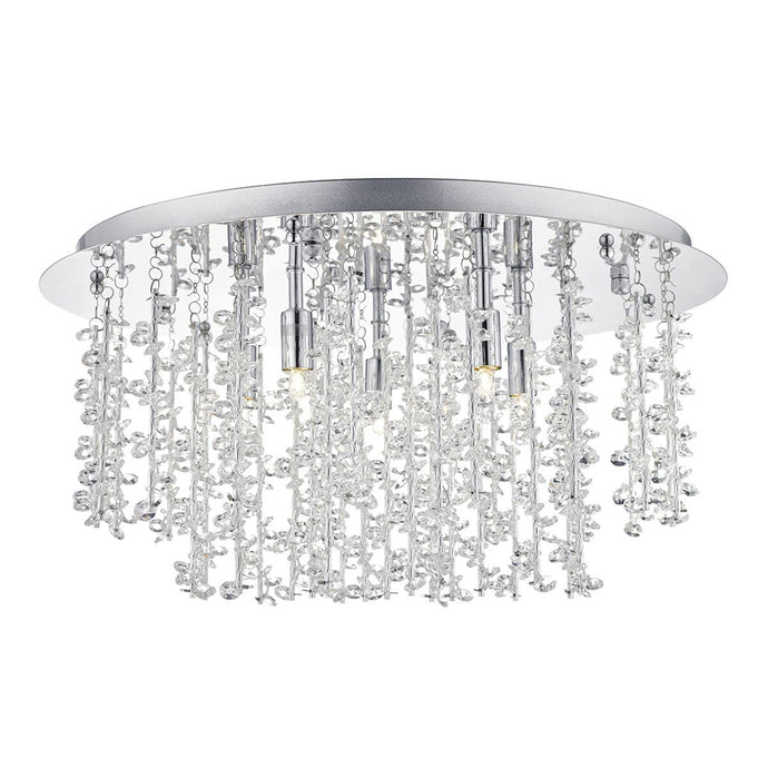 Oakleigh Polished Chrome & Crystal 5 Lamp Flush Ceiling Light - ID 5814