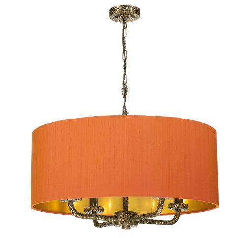 Sloane 4 Light Pendant Bronze With Orange & Gold Shade (other shade colours available) - ID 10242