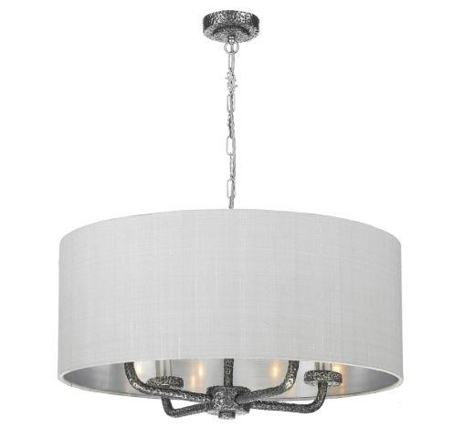 Sloane 4 Light Pendant Pewter With Grey & Silver Shade (other shade colours available) - ID 10243