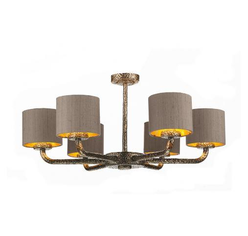 Sloane 6 Light Pendant Bronze With Truffle & Gold Shades (other shade colours available) - ID 10244