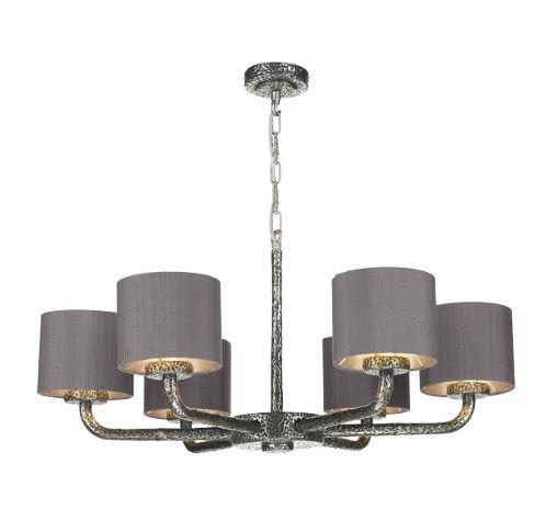 Sloane 6 Light Pendant Pewter With Charcoal & Silver Shades (other shade colours available) - ID 10245