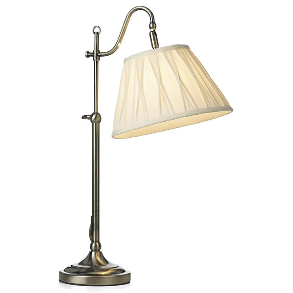 Suffolk Antique Brass Rise & Fall Table Lamp - London Lighting - 1