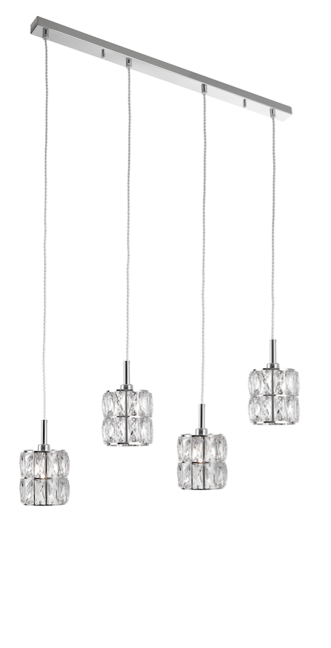 NIC Crystal & Chrome Aluminium 4 Light Linear Bar Pendant - ID 10559