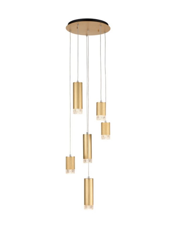Stepton Brushed Satin Gold & Textured Glass 6 Light Multiple Drop Pendant - ID 10628
