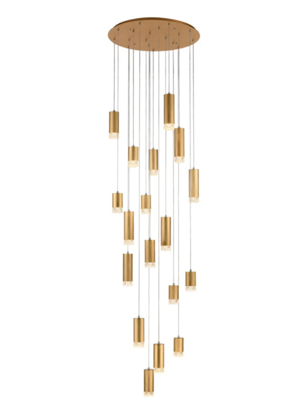 Stepton Brushed Satin Gold & Textured Glass 18 Light Multiple Drop Pendant - ID 10630