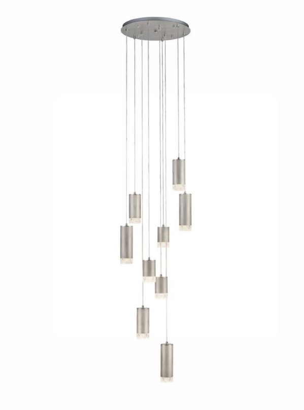 Stepton Brushed Satin Nickel & Textured Glass 9 Light Multiple Drop Pendant - ID 10632