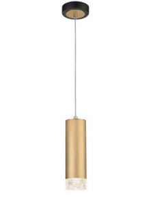 Stepton Brushed Satin Gold & Textured Glass 1 Light Single Pendant - ID 10635