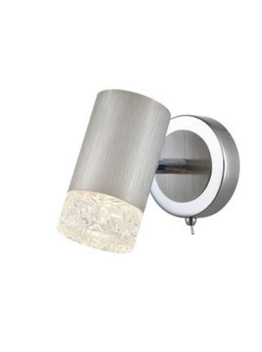 Stepton Brushed Satin Nickel & Textured Glass 1 Light Single Spotlight - ID 10638