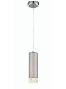 Stepton Brushed Satin Nickel & Textured Glass 1 Light Single Pendant - ID 10640