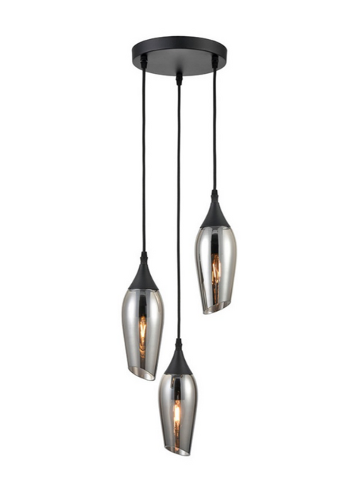 Bexley Angle Cut Smoked Glass 3 Light Multi Drop Pendant - ID 9563