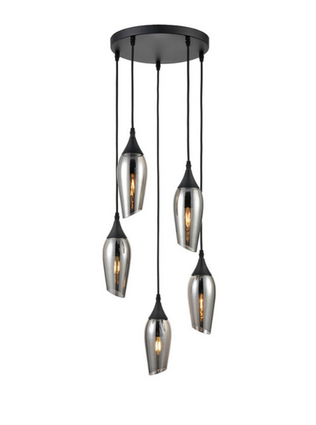 Bexley Angle Cut Smoked Glass 5 Light Multi Drop Pendant - ID 10641