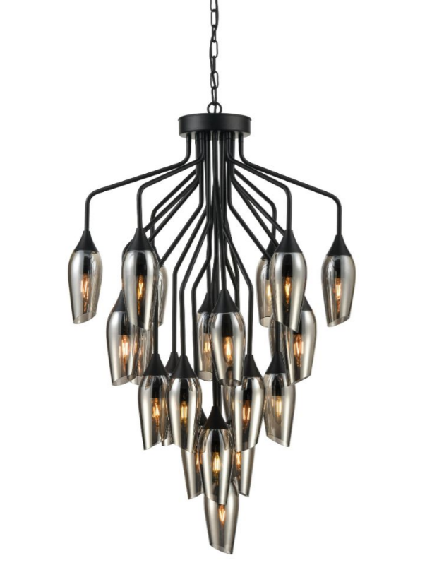 Bexley Angle Cut Smoked Glass 22 Light Chandelier - ID 10642