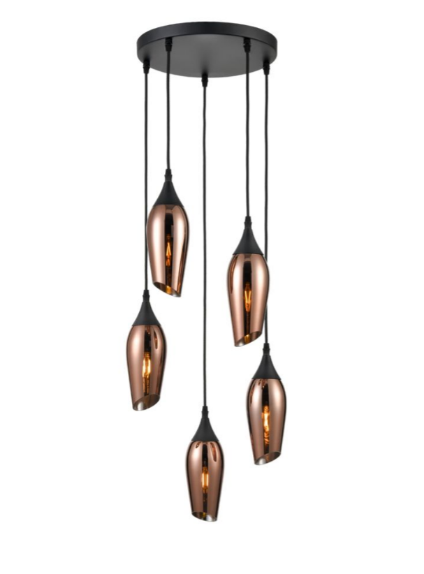 Bexley Angle Cut Copper Coloured Glass 5 Light Multi Drop Pendant - ID 9562