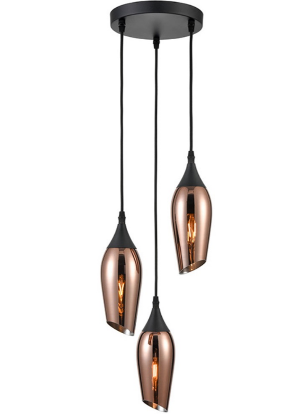 Bexley Angle Cut Copper Coloured Glass 3 Light Multi Drop Pendant - ID 10644
