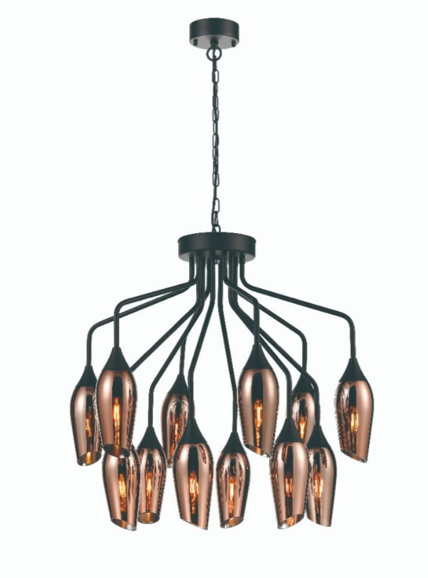 Bexley Angle Cut Copper Coloured Glass 12 Light Chandelier - ID 10645