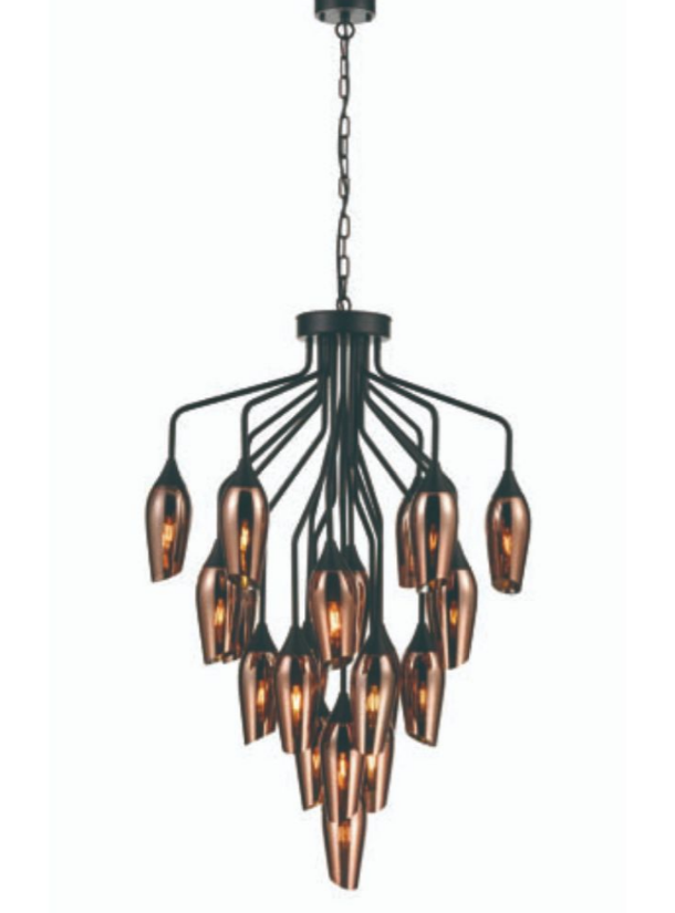 Bexley Angle Cut Copper Coloured Glass 22 Light Chandelier - ID 10646