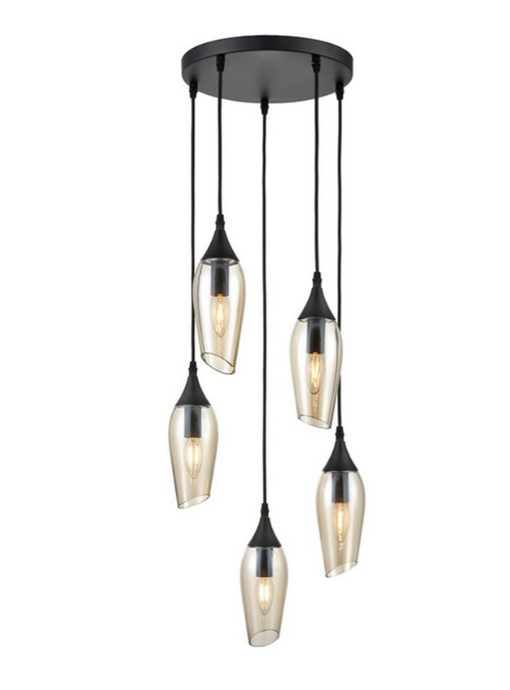 Bexley Angle Cut Cognac Coloured Glass 5 Light Multi Drop Pendant - ID 10647