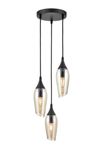 Bexley Angle Cut Cognac Coloured Glass 3 Light Multi Drop Pendant - ID 10648