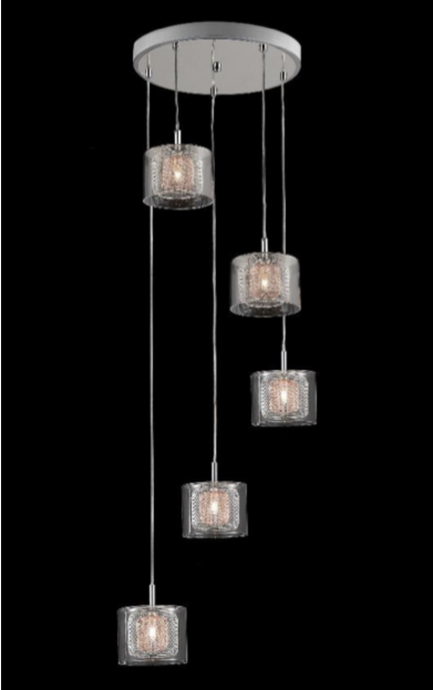 Eastcote Polished Chrome and Copper Cluster Pendant - ID 6230