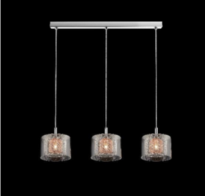 Eastcote Polished Chrome and Copper Bar Pendant - ID 6231