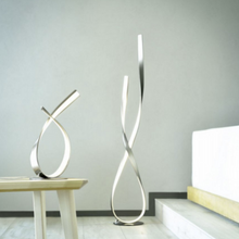 Curved Steel Floor Lamp In Stainless Steel Finish - ID 6775