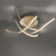 Curved Steel Large Ceiling Lamp In Gold Leaf Finish - ID 6767