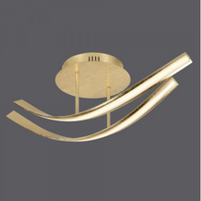 Curved Steel Ceiling Lamp In Gold Leaf Finish - ID 6770