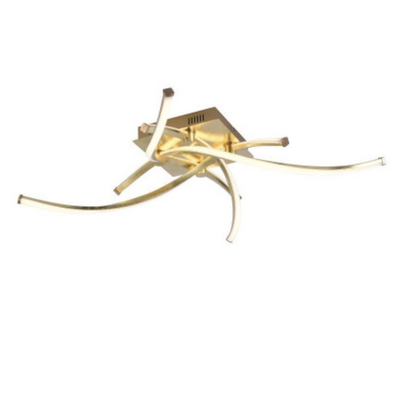 Four Arm Twisted Ceiling Lamp In Gold Leaf Finish - ID 7042