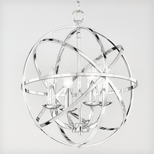Glantown Polished Chrome 4 Arm Chandelier Style Single Pendant - ID 5874